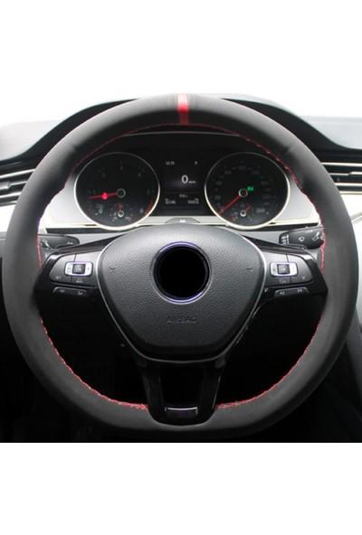Gardenauto Ford Fiesta 2009-2016 Alcantra Direksiyon Kılıfı Kırmızı Yüzüklü