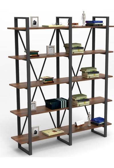 Yurudesign Marken E Ofis Kitaplık 5 Raflı Metal Ayaklı Barok