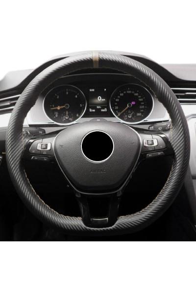 Gardenauto Opel Astra J 2010 sonrası Karbon Direksiyon Kılıfı Bej Yüzüklü
