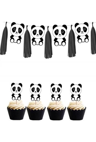 Partifabrik Panda Partisi Temalı Pasta Süsü Banner Set