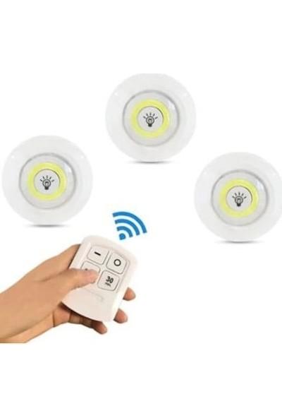Fitfiyat Uzaktan Kumandalı 3 Adet Spot LED Lamba Aydınlatma Dolap Işık