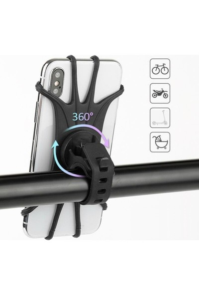 Bike Hand Elektrikli Scooter Telefon Tutucu Bisiklet Motosiklet Ile Uyumlu Elastik Silikon 360 Derece M365 Pro