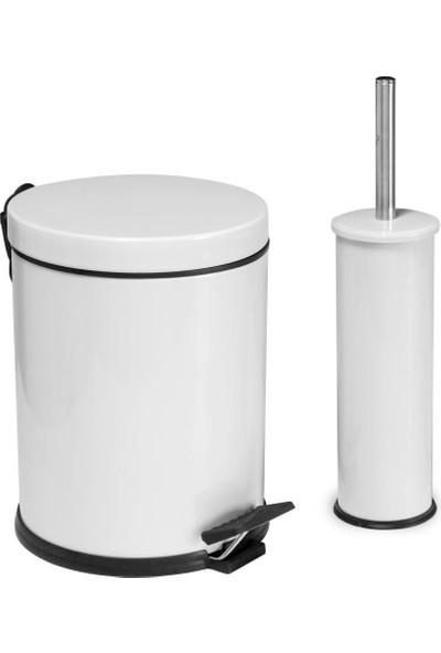 Baymera 5 lt Çöp Kovası ve Wc Fırçası Banyo Seti - Beyaz