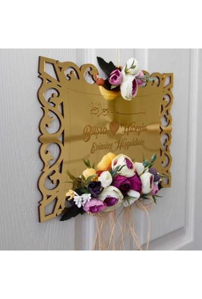 Meşgalem Lila ve Krem Tonlu Gold Pleksi Dış Kapı Süsü