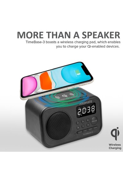 Promate Timebase-3 Bluetooth Hoparlör 5W, Qi Kablosuz Şarj 5W, Alarmlı saat, FM Radyo, USB, Mikrofon