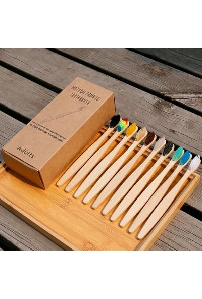 Buyfun 10'lu Takım Doğal Bambu Diş Fırçaları Yumuşak Kıllar
