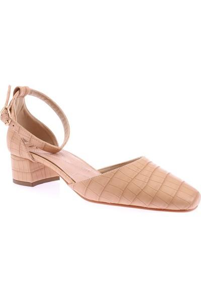 Dgn 502-Y Kadın Küt Burun Parmak Dekolteli Bilekten Bağlı Ayakkabı 20Y
