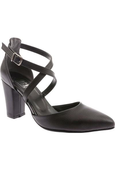 Dgn 1327 Kadın Sivri Burun Çapraz Bilekten Bağlı Topuklu Ayakkabı 20Y