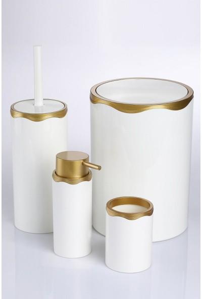 Azra Akrilik Banyo Takımı 4'lü Banyo Seti Beyaz Gold Azra