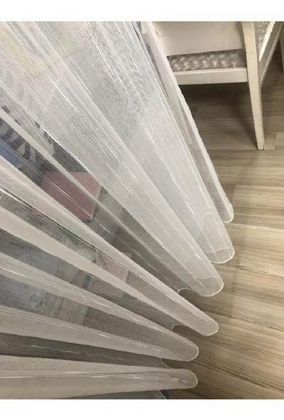 Hilal Jadida 1x3 Sık Pileli Çizgili Keten Tül Perde 450 x 250 cm