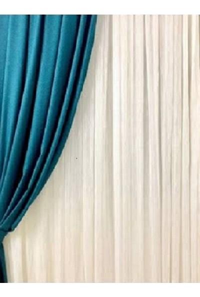 Hilal Jadida 1x2,5 Orta Pileli Çizgili Keten Tül Perde 450 x 250 cm