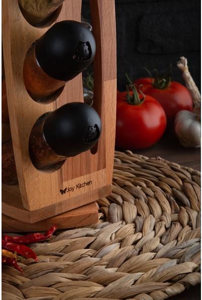 Joy Kitchen Emma 6'lı Dönen Baharatlık Seti - Siyah Kapakl