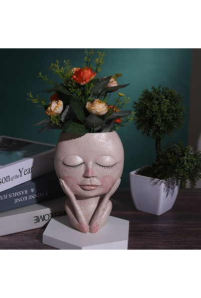 Heppoly Portre Insan Yüzü Figürlü Dekoratif Sukulent Saksı Kalemlik