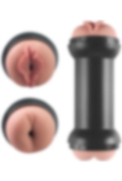 Lilitu Shop Traning Master Özel Dokulu Realistik Çift Taraflı Vajina Anal Masturbatör