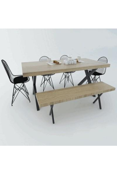 Deko Cadde Metal Suntalam Yemek Masası ve Sandalye Bank Takımı
