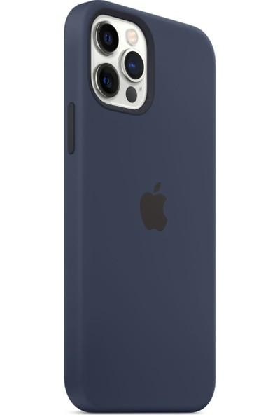 Apple iPhone 12 - 12 Pro Silikon Kılıf MagSafe Derin Mavi - MHL43ZM/A