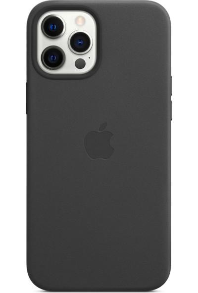 Apple iPhone 12 Pro Max Deri Kılıf MagSafe Siyah - MHKM3ZM/A