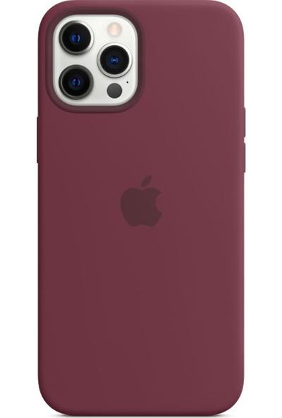 Apple iPhone 12 Pro Max Silikon Kılıf MagSafe Kırmızı Erik - MHLA3ZM/A