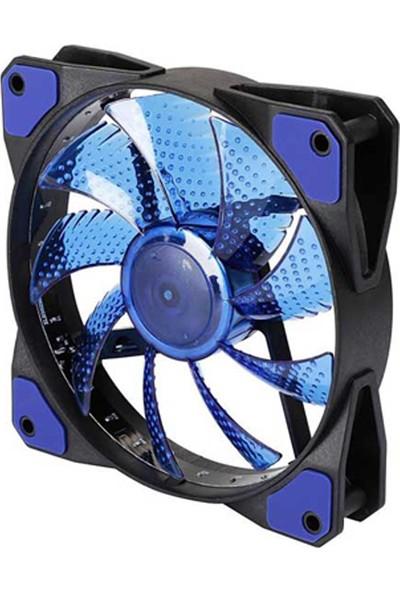 Wozlo Kasa Fanı 12CM - 3D - 15 LED - Lastik Pad - Mavi Renk