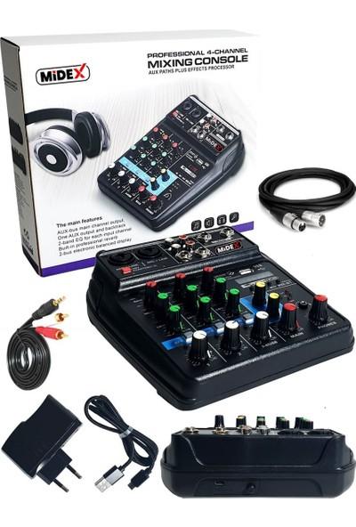 Midex MDX-999 Ses Kartlı +48V Phantomlu Kayıt Mikseri + XLR Kablo + Rca