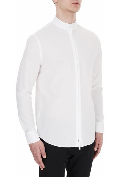 Emporio Armani Dik Yaka Fermuarlı Erkek Gömlek 91Sm9L 910F2 100