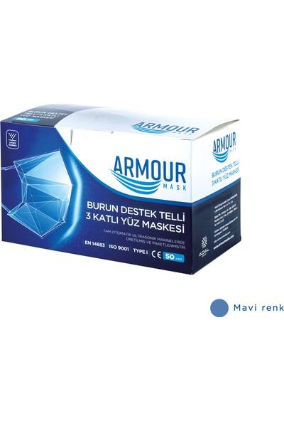 Armour Mask - Meltblown Filtreli Mavi Tek Kullanımlık Yetişkin Cerrahi Yüz Maskesi 50'li