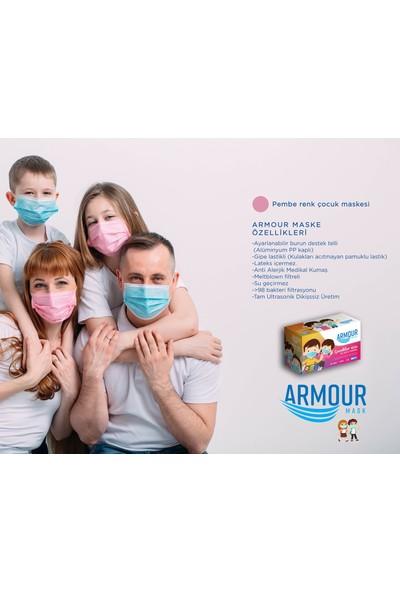 Armour Mask - Meltblown Filtreli Pembe Tek Kullanımlık Çocuk Cerrahi Yüz Maskesi 10'lu / 5 Kutu (50 Maske)