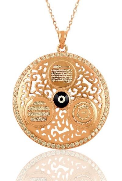 Osmanlı Gümüş Ayetel Kürsi, Nazar Dualı Nazar Boncuklu Büyük Boy Kolye
