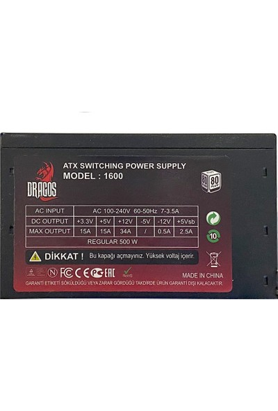 Dragos 500W Rgb 80+ White Power Supply (DRG-RGB500W-1600)