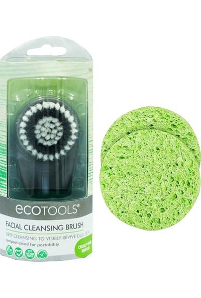 Ecotools Yüz Temizleme Fırçası Siyah 079625074864 +Sponges Yüz Temizleme Süngeri 2 Adet 079625074383