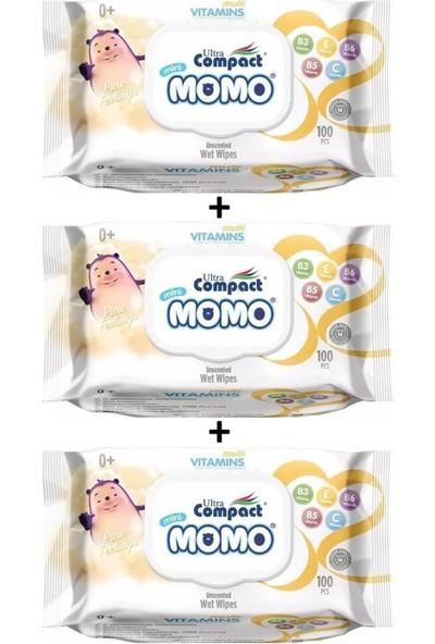 Ultra Compact Momo Yenidoğan Multi Vitaminli Islak Mendil, Havlu 3 Paket = 300 Yaprak