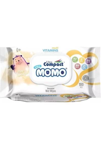 Ultra Compact Momo Yenidoğan Multi Vitaminli Islak Mendil, Havlu 6 Paket = 600 Yaprak