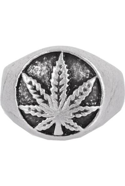 Labalaba Erkek Antik Gümüş Kaplama Örgü Dokulu Ayarlanabilir Marihuana Yaprağı Yüzük