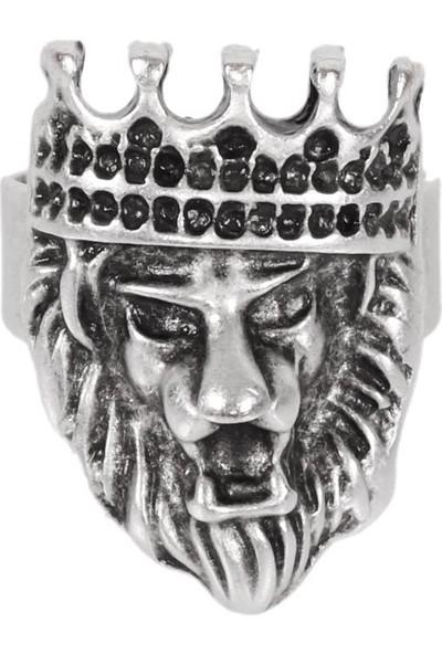 Labalaba Erkek Antik Gümüş Kaplama Ayarlanabilir Kral Tacı&aslan Yüzük