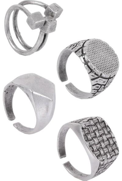 Labalaba Erkek Antik Gümüş Kaplama Ayarlanabilir Geometrik Formlu 4'lü Yüzük Seti