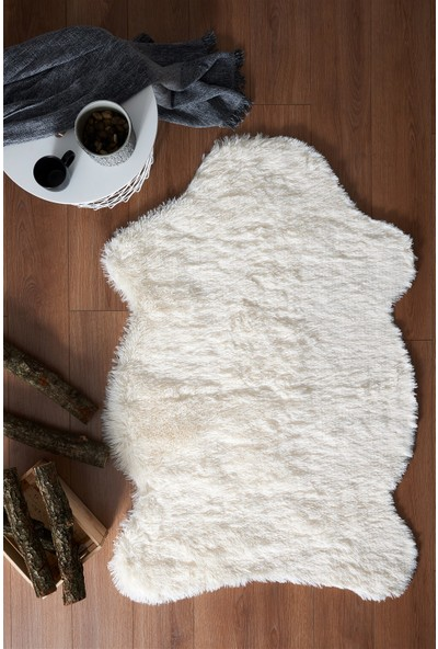 Markaev Tavşan Tüyü Krem Post Halı 60 x 90 cm