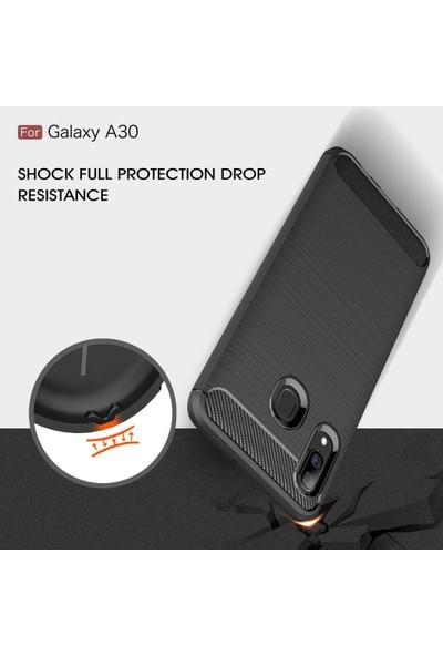 SmartBerry Samsung Galaxy A30 Kılıf Silikon Room Özel Karbon + Tam Kaplayan Ekran Koruyucu Siyah