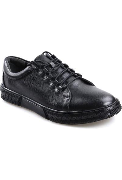 Goes 724 Kauçuk Taban Ortapedik Siyah Günlük Erkek Deri Ayakkabı