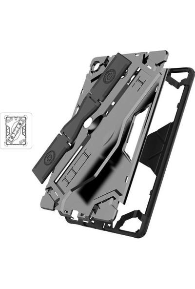 "Fibaks Samsung Galaxy Tab S6 Lite SM-P610 10.4"" Kılıf Defens 360 Derece Tam Koruma Armor Tank Zırh Standlı + Ekran Koruyucu Siyah"