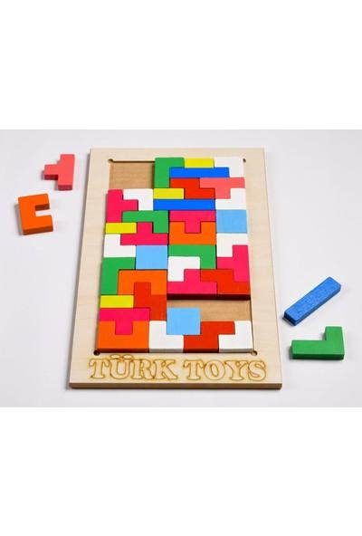 Türk Toys Ahşap Eğitici Bultak Tetris Puzzle Çocuk Oyuncağı