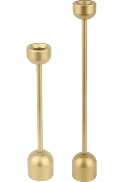 Mumsema Hediyelik Dekoratif Gold 2'li Kule Şamdan & Mumluk Set