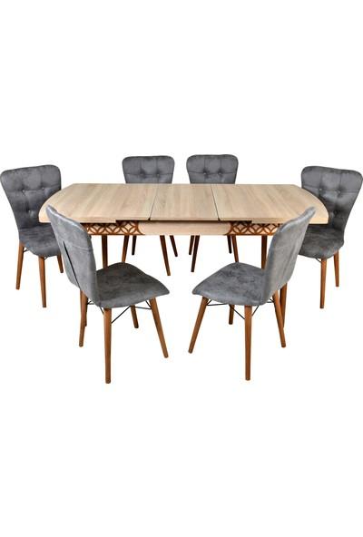Mobildeco Ipek 6 Kişilik Kelebek Açılır Yemek Masa Sandalye Takım Gri