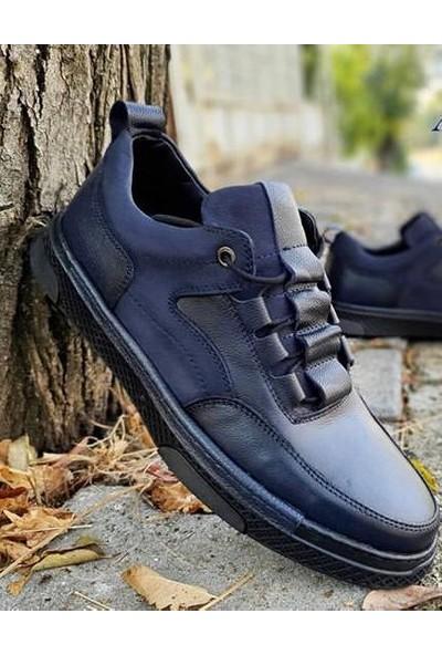 Antioch 017 Lacivert Deri Erkek Günlük Trend Şık Ayakkabı
