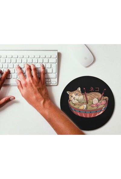 Wuw Noodle Yiyen Kedi Yuvarlak Mouse Pad Renkli