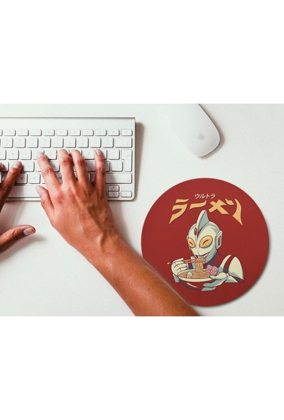 Wuw Noodle Yiyen Uzaylı Yuvarlak Mouse Pad Renkli