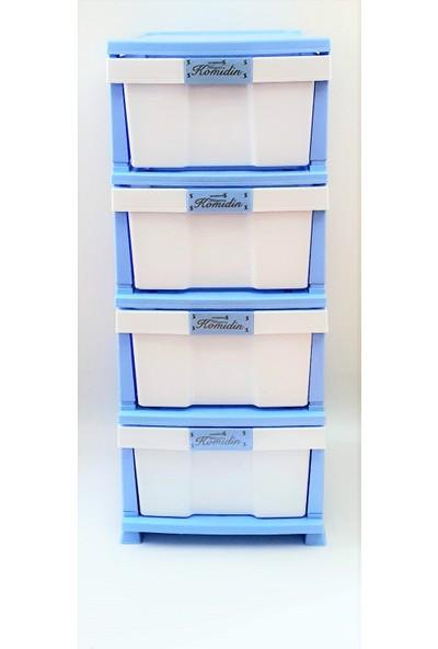 Saral Plastik Dört Çekmeceli Mavi Beyaz Komidin Sebzelik Şifonyer