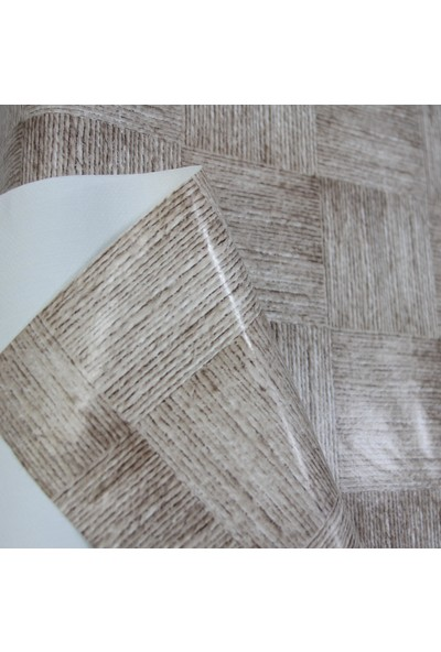 Dede Ev Tekstil Elyaf Astarlı Silinebilir Pvc Muşamba Masa Örtüsü - Kahve Kare Hasır