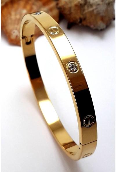 Novella Takı Zirkon Taşlı Paslanmaz Çelik Cartier Bileklik Bilezik 18 cm