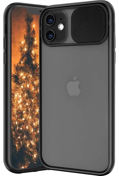 Ceplab Apple iPhone 11 Kılıf Kamera Lens Koruma Sürgülü Frosted Silikon Kapak+Tam Kapatan 5d Temperli Cam Siyah