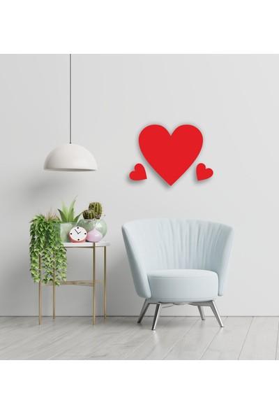 Ikbal Market Love Aşk Kalp 3'lü Kırmızı Ahşap Lazer Tablo Mdf 3mm